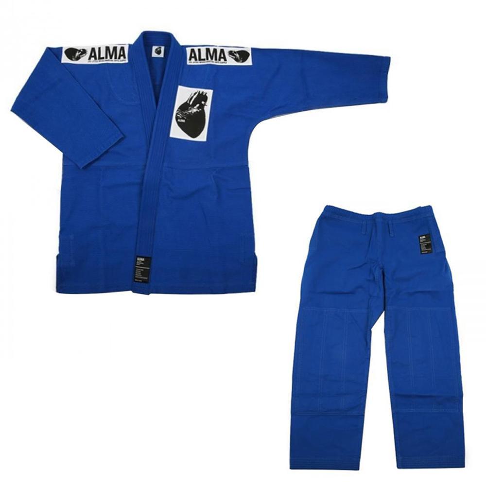 (代引き不可)(同梱不可)ALMA アルマ レギュラーキモノ 国産柔術衣 M0 青 上下 JU1-M0-BU