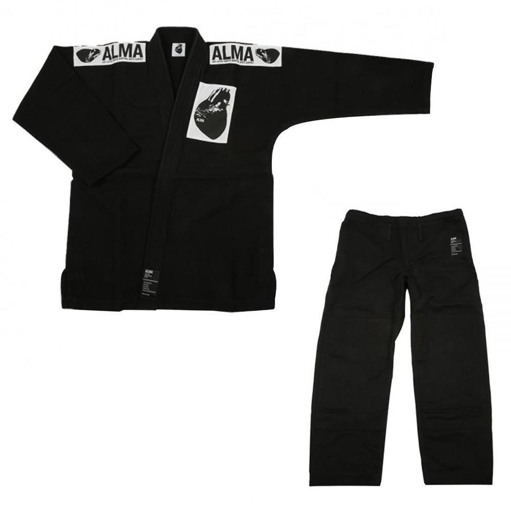 (代引き不可)(同梱不可)ALMA アルマ レギュラーキモノ 国産柔術衣 M1 黒 上下 JU1-M1-BK
