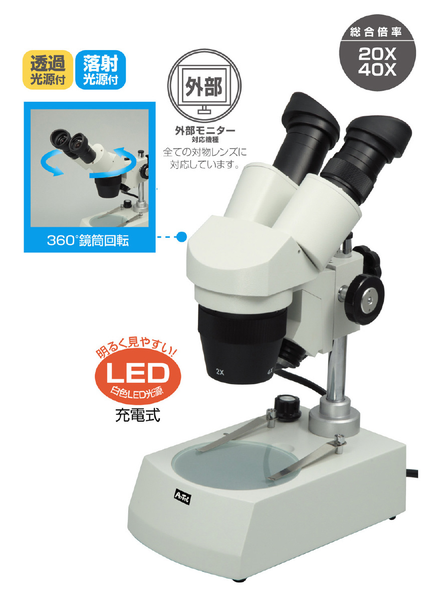 回転双眼実体顕微鏡(充電式LED)