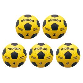 サッカーボールゴム4号球黄×黒(5球) F4Y*5【モルテン】