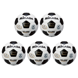 サッカーボール検定球4号 白×黒(5個) SVC402-SBC【ミカサ】