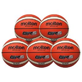 バスケットボールゴム球5号12面体5個 BGR5-OI*5【モルテン】