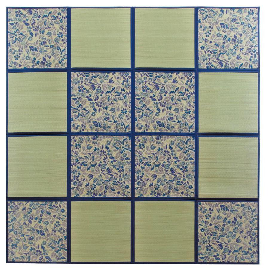 (同梱不可)折りたたみ い草アクセントラグ 花園 ブルー 約266×266cm HGW699189