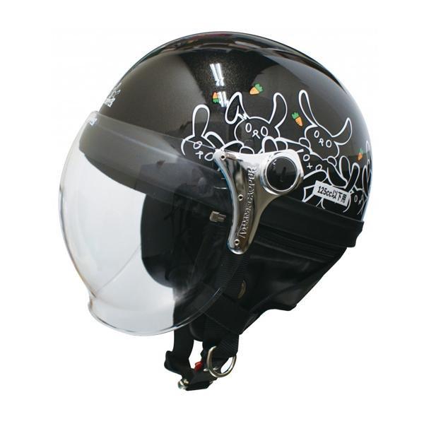 (同梱不可)ダムトラックス(DAMMTRAX) カリーナ ハーフ ヘルメット BLACK/RABBIT