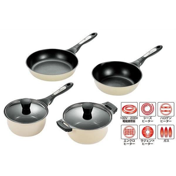 (同梱不可)タツヤ・カワゴエ キッチンツール4点セット (両手鍋・片手鍋・フライパン・ディープパン) TKC-2500S