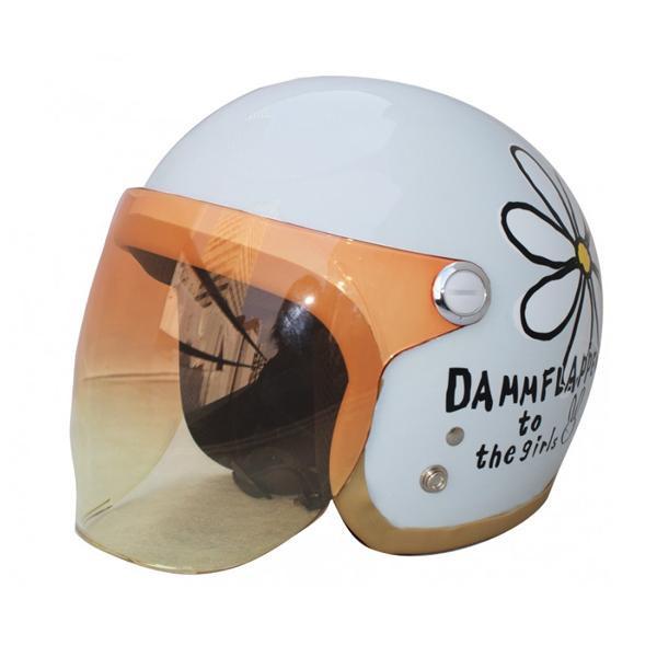 (同梱不可)ダムトラックス(DAMMTRAX) フラワージェット ヘルメット PEARL WHITE