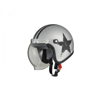 (同梱不可)リード工業 LEAD MOUSSE ジェットヘルメット スターシルバー フリーサイズ