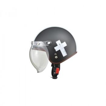 (同梱不可)リード工業 LEAD NOVIA(ノービア) バブルシールド付スモールロージェットヘルメット クロスブラック レディースフリーサイズ