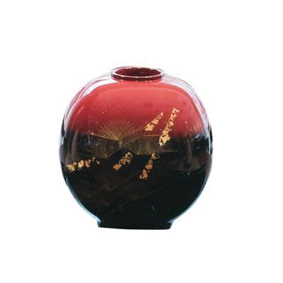 (同梱不可)輪島塗 花器 球型 黒朱ぼかし 雅松沈金 WA2-1