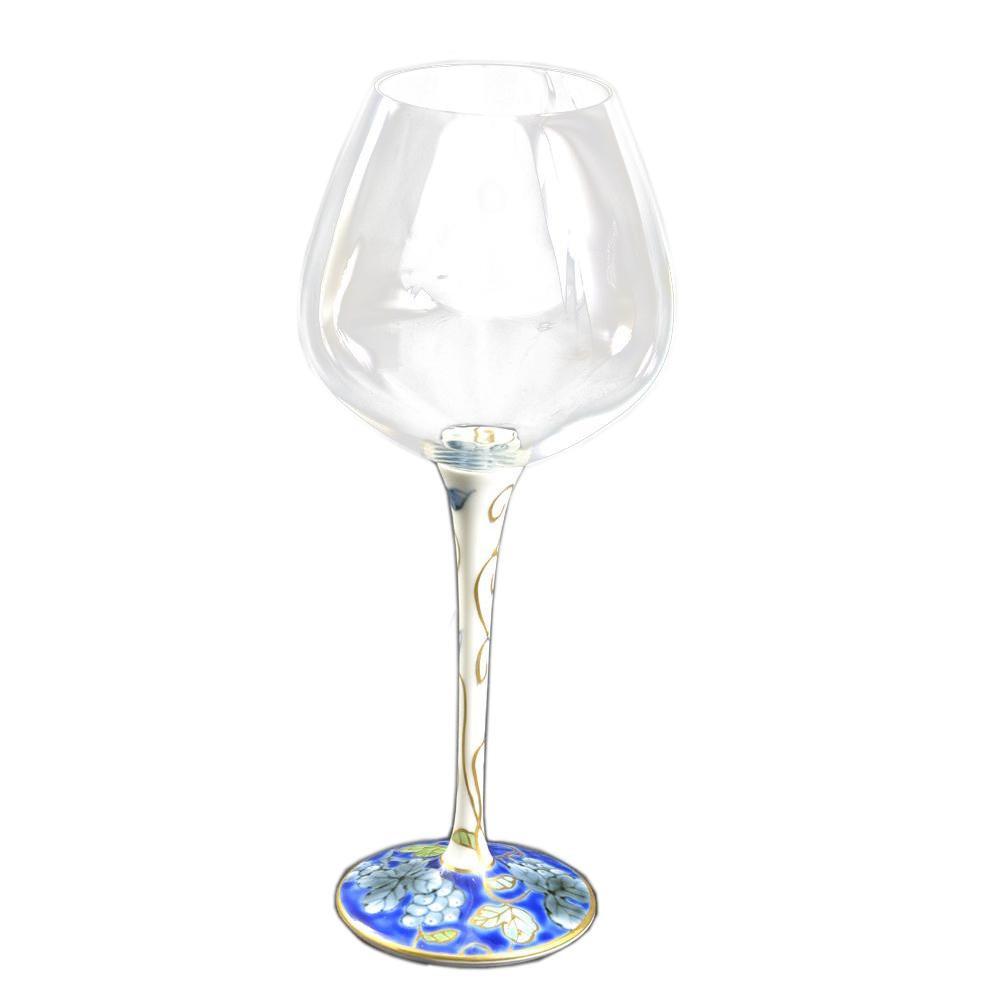 (同梱不可)有田焼 福泉窯 有田浪漫 ハイレッグワイングラス 大 染錦葡萄 ブルー