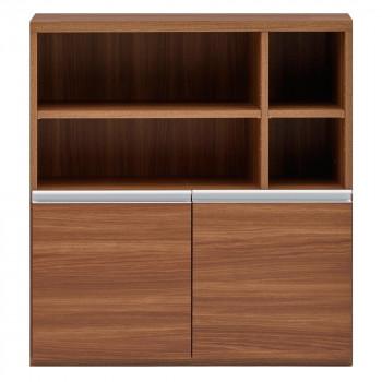 (代引き不可)(同梱不可)収納棚 オープン棚 + 戸棚 リアルウォールナット ECD-91H