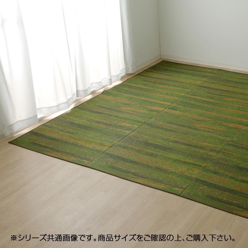 (同梱不可)純国産 い草花ござカーペット 『カイン』 グリーン 江戸間8畳(約348×352cm) 4132808