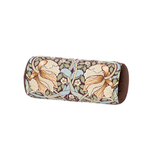 (同梱不可)川島織物セルコン Morris Design Studio ピンパーネル ボルスター型クッション 40×18Rcm LS1723 BR ブラウン
