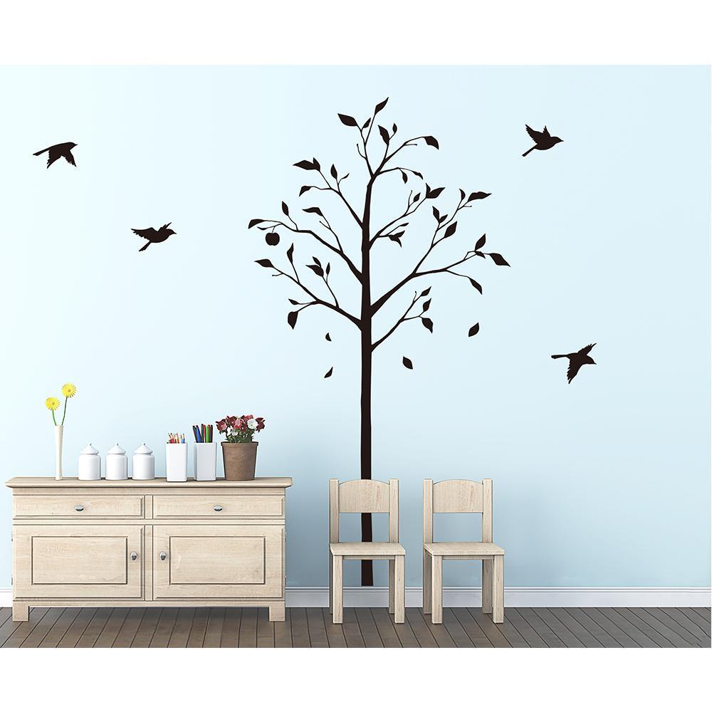 (代引き不可)(同梱不可)東京ステッカー ウォールステッカー 転写式 林檎の木と小鳥 ブラック Mサイズ TS-0051-AM