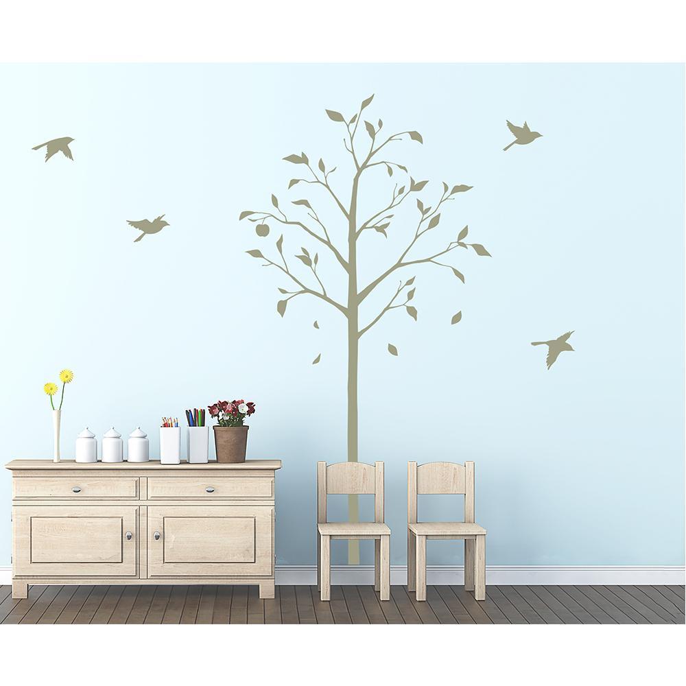 (代引き不可)(同梱不可)東京ステッカー ウォールステッカー 転写式 林檎の木と小鳥 グリーン Lサイズ TS-0051-FL