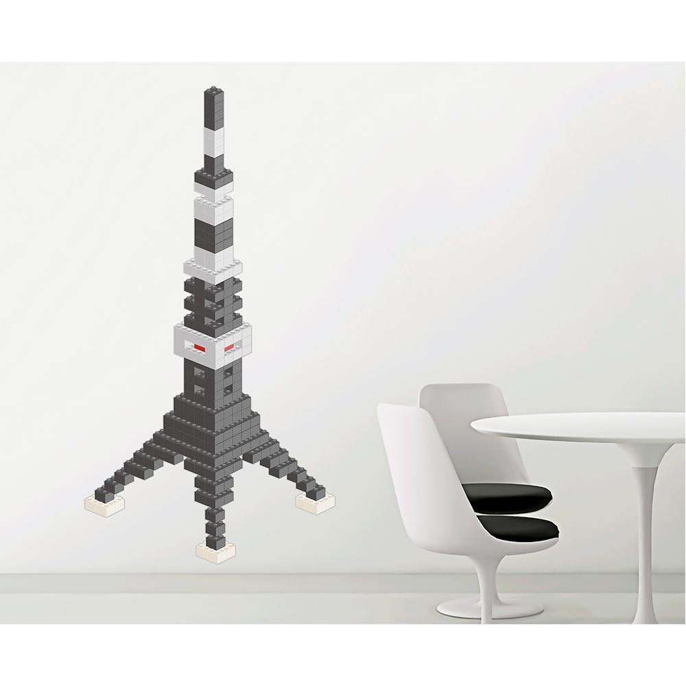 (代引き不可)(同梱不可)東京ステッカー ウォールステッカー 転写式 ブロック・タワー ダークグレー Mサイズ TS-0020-BM