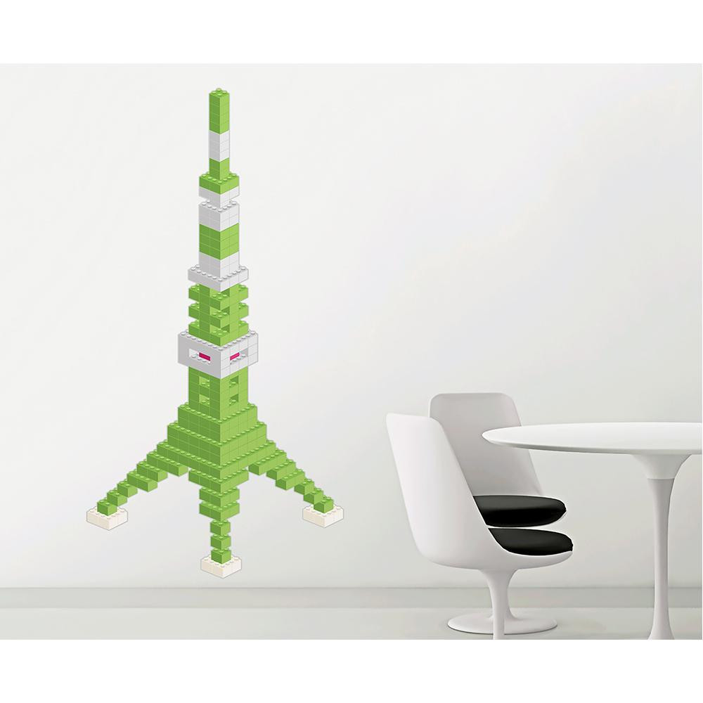 (代引き不可)(同梱不可)東京ステッカー ウォールステッカー 転写式 ブロック・タワー ライムグリーン Mサイズ TS-0020-CM