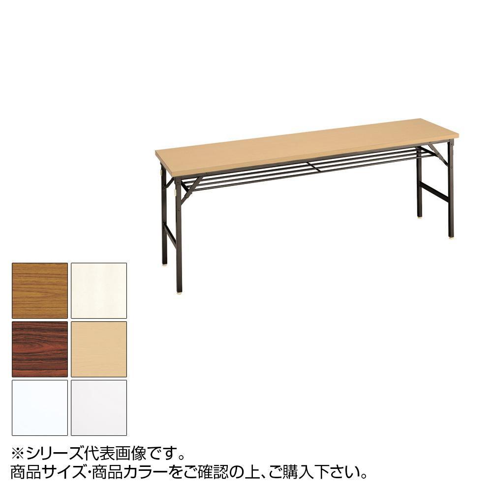 (代引き不可)(同梱不可)トーカイスクリーン 折り畳み会議テーブル クランク式 共縁 棚付 YT-156