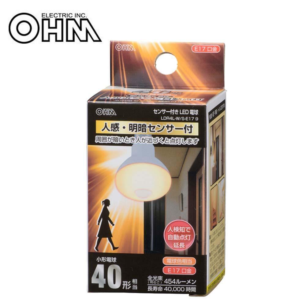 人感 明暗センサー機能付きのLED電球 自動点灯 人検知 照明 同梱不可 サービス OHM LED電球 電球色 在庫限り 明暗センサー付 40形相当 S-E17 E17 9 レフランプ形 LDR4L-W