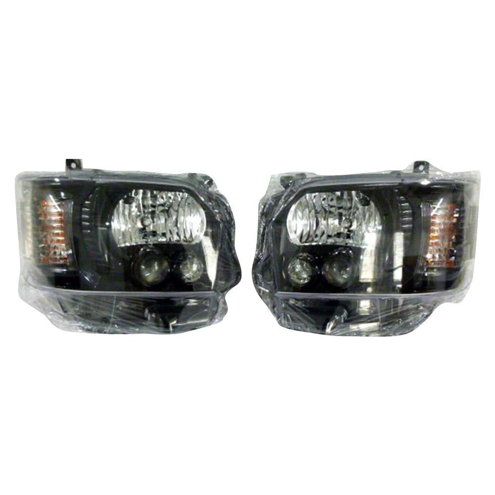 (同梱不可)SoulMates 200系ハイエース(1・2・3型用) カスタム用LEDヘッドライト 4型ルック ブラック(艶)枠塗装タイプ GTH-005