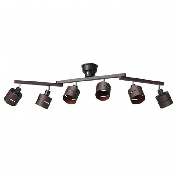 (同梱不可)YAZAWA(ヤザワコーポレーション) 6灯 ウッドセードシーリング ダークブラウン E26 CEX60X03DW