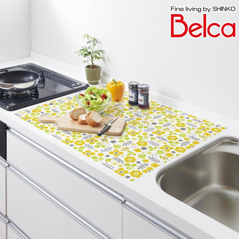 (同梱不可)Belca(ベルカ) シリコン キッチントップ保護マット 75×60cm フォレストフラワー柄 SKM-7560FF
