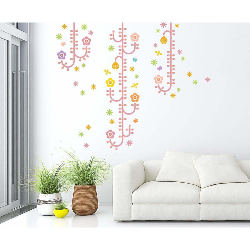 (代引き不可)(同梱不可)東京ステッカー ウォールステッカー 転写式 植物と昆虫たち ピンク Lサイズ TS-0006-BL