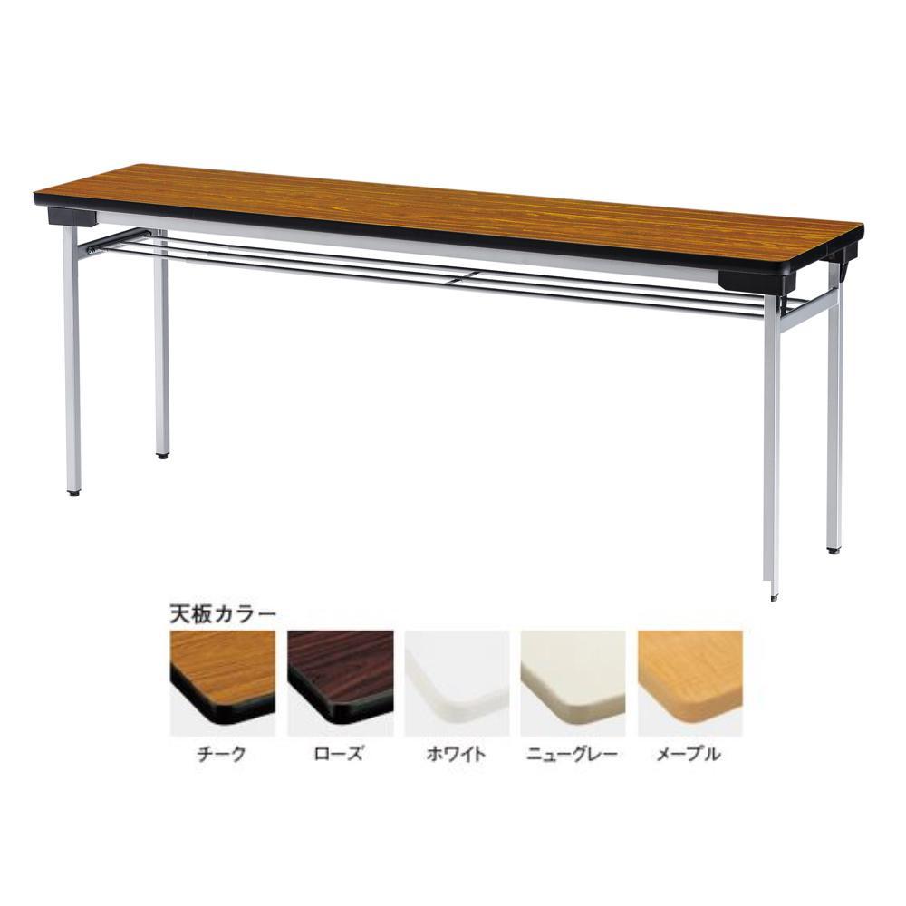 (代引き不可)(同梱不可)フォールディングテーブル 棚付き メラミン化粧板 TFW-1845