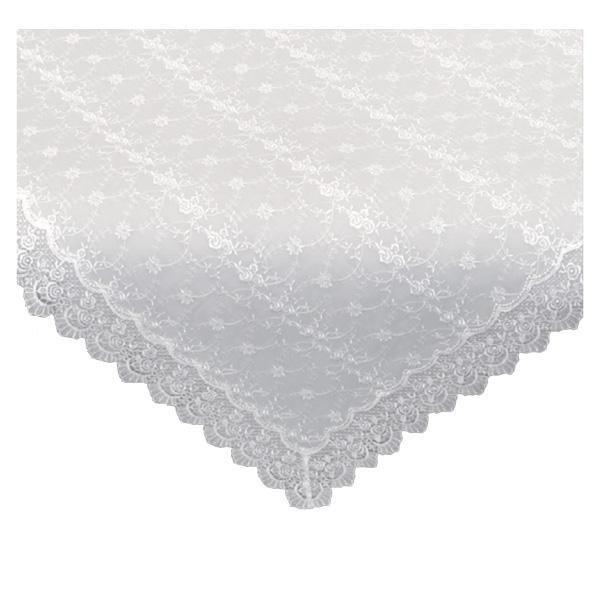 (同梱不可)川島織物セルコン チュールエンブロイダリー テーブルクロス 128×128cm HH1300 W ホワイト