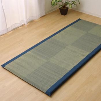(同梱不可)い草ごろ寝マット 『ノア40 Sらくらく』 ブルー 約90×200cm 7530309