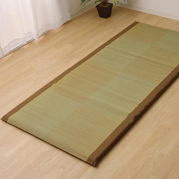 (同梱不可)い草ごろ寝マット 『ノア40 Sらくらく』 ブラウン 約90×200cm 7530359