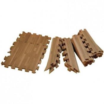 (代引き不可)(同梱不可)リトルプリンセス 抗菌加工 フロアーマット(ジョイントマット) 195cm×195cm(約2畳分) 木目調ブラウンウッド