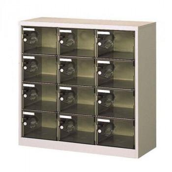 (代引き不可)(同梱不可)シューズロッカー 扉付・錠なしタイプ 棚板なし スモーク COM-SC-12PC