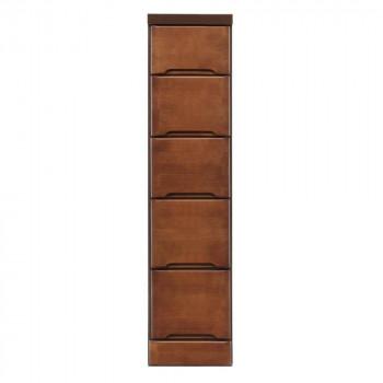 (代引き不可)(同梱不可)クライン サイズが豊富なすきま収納チェスト ブラウン色 5段 幅25cm