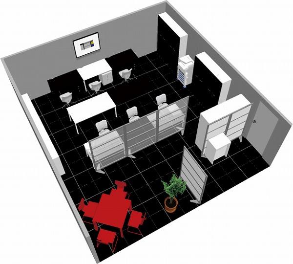 【送料無料】【smtb-TK】【クリエイティブ】SOHO家具パッケージ・45平米(6人用) モノトーンに赤のワンポイント【YDKG-tk】【fsp2124】【fs2gm】【fs3gm】