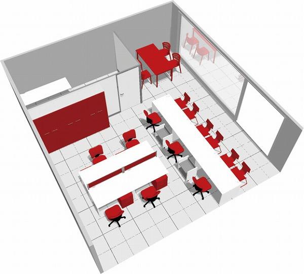 【送料無料】【smtb-TK】【店舗】SOHO家具パッケージ・45平米(4人用) 赤と白でキュートな店舗【YDKG-tk】【fsp2124】【fs2gm】【fs3gm】