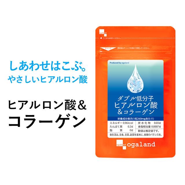 W低分子ヒアルロン酸&コラーゲン(約12ヶ月分)送料無料 サプリ サプリメント ヒアルロン酸 コラーゲン オーガランド ヒアルロン酸 乾燥 する季節に 化粧水 ドリンクよりも手軽 【1年分】 _JB_JH