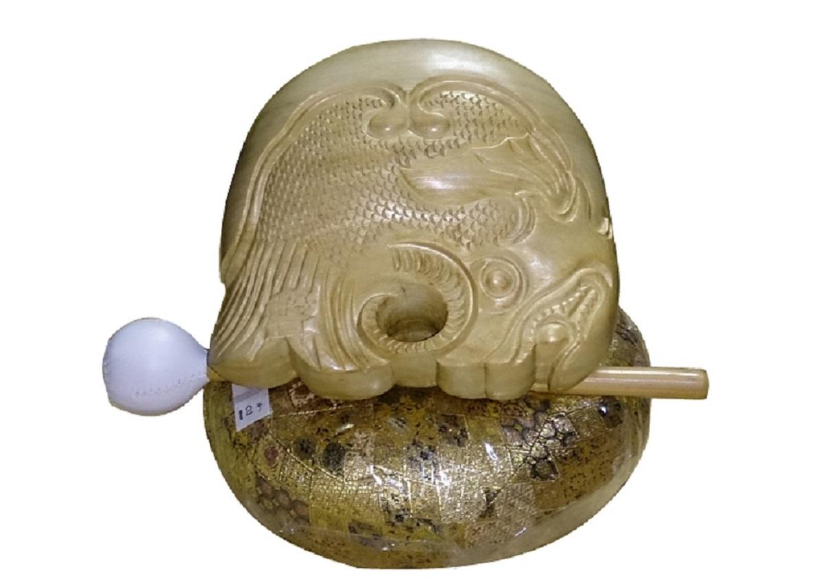 【受注生産商品】(株)小笠原謹製 9寸聲木魚セット(上等品) 3点木魚セット 楠木魚