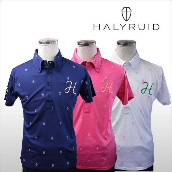 ハリールイド(HALYRUID) 半袖 ボタンダウンドットプリント ポロシャツ