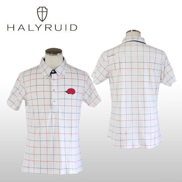 ハリールイド(HALYRUID) チェックボタンダウン 半袖ポロシャツ メンズ