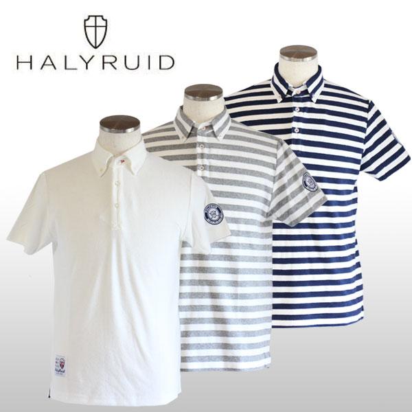 ハリールイド(HALYRUID) 総柄ボタンダウン 半袖ポロシャツ メンズ