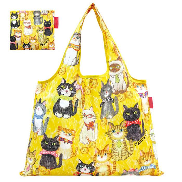 4点までメール便OK お買い物バッグ 新品 ショッピングバッグ ネコ キャット cat リボン 鈴 いろんな猫柄 黄色 猫が整列したら ネコ柄 by designed 有名な メール便のみ送料無料 折りたたみエコバッグ デザイナーズジャパン 北村ハルコ