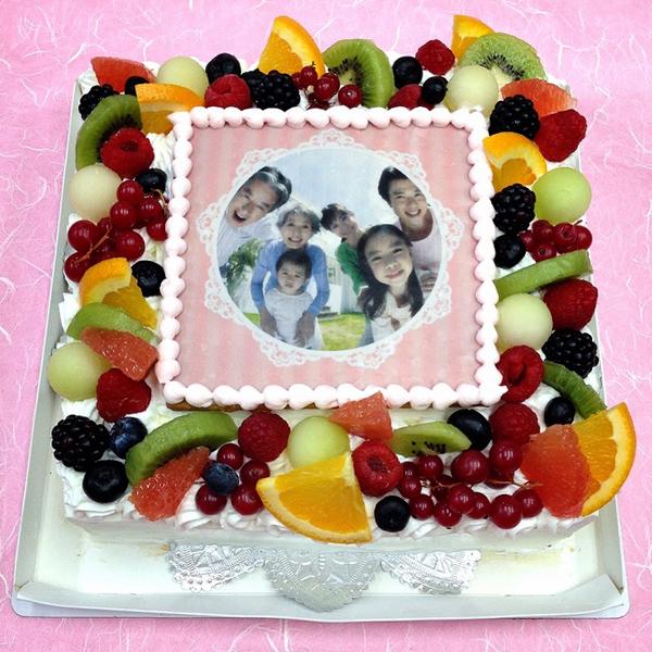 生クリームケーキ バースデーケーキ お誕生日 パーティー 記念日 サプライズ(四角)8号