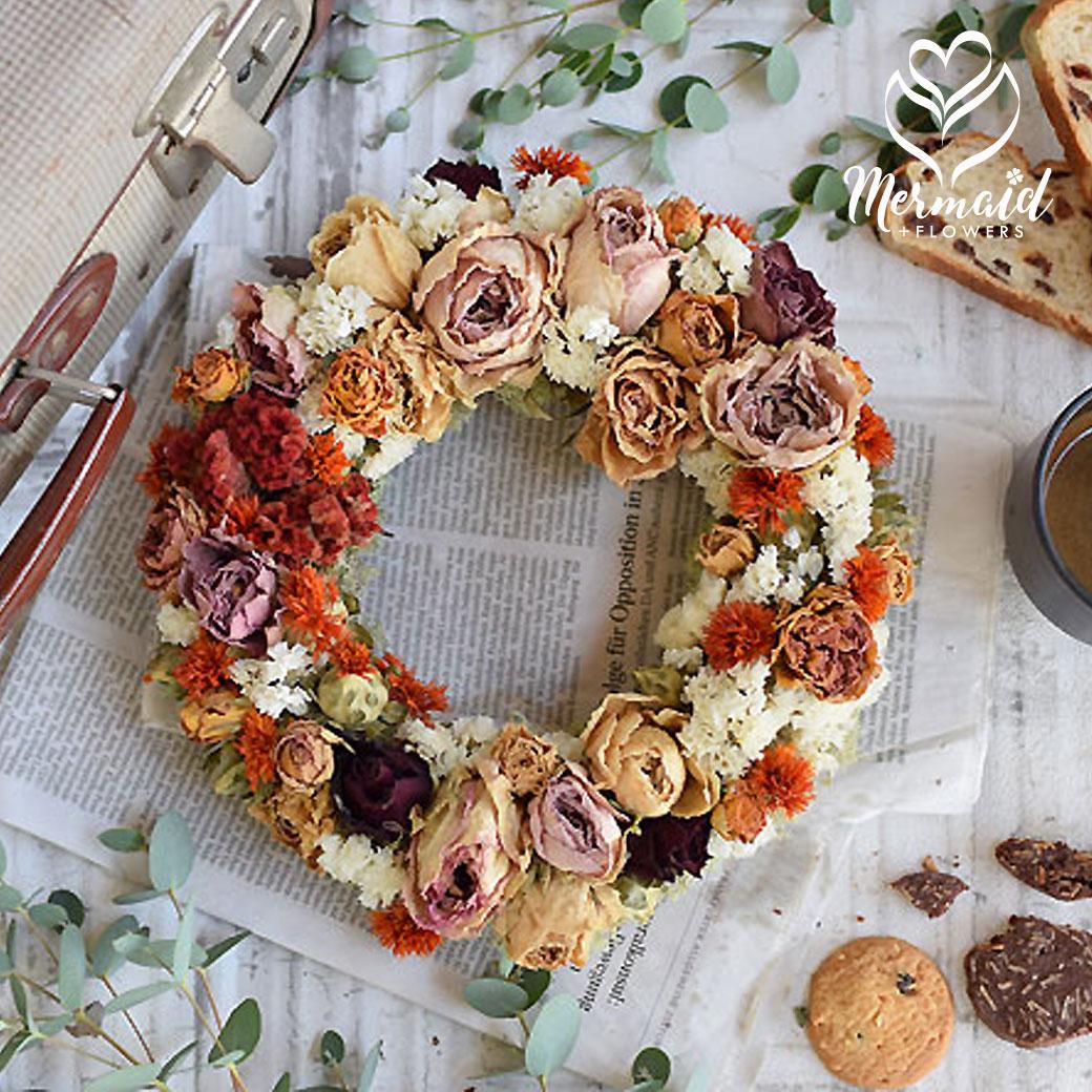 玄関 花 誕生日 結婚祝い お礼 歓送迎 ドライフラワー リース 「クラシカル・ローザ」 成人お祝い 愛妻の日 お正月 迎春