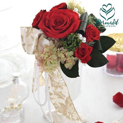 プリザーブド アレンジ 『Embellir』 アンベリール プリザ ゴージャス バラ 送料無料 結婚祝い 結婚記念日 開店祝い 送別会 歓迎会 退職祝い母の日 お母さんへのプレゼント 祝い 送料無料 花 プレゼント