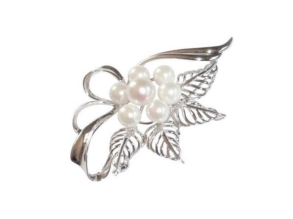 【送料無料】【あす楽対応】アコヤ真珠 1060 ギフト パール 6.0-6.5mm ブローチ あこや真珠 プレゼント フォーマル SV 真珠 シルバー カジュアル ホワイト 8.0-8.5mm