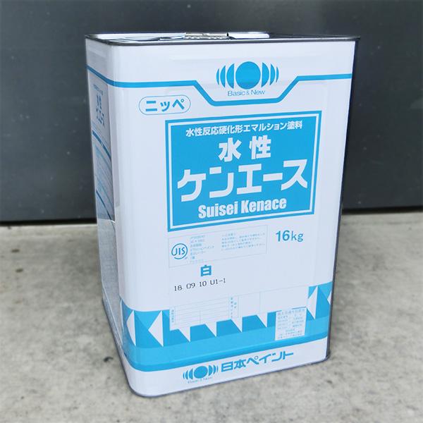水性ケンエース 艶消し 白色 16kg(約120平米/1回塗り) 日本ペイント/屋内外/水性/1液/ヤニ止め/アクリル