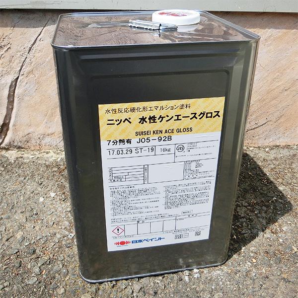 水性ケンエースグロス 淡彩色 艶有り 16kg(約120平米/1回塗り) 日本ペイント/屋内外/水性/1液/ヤニ止め/アクリル