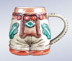 ZB德國啤酒大啤酒杯啤酒小大啤酒杯63ml手製的陶器≪民族服裝≫開胃酒立即交納!