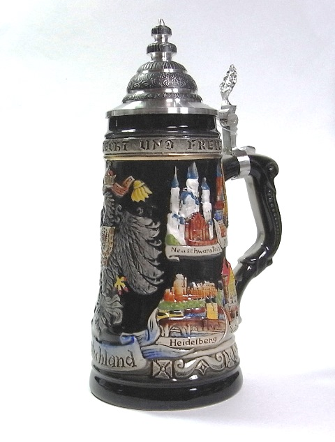 ZB ドイツビアジョッキ ビール 500ml ドイツ国鷲&ミュンヘン他8都市 黒 ピューター製蓋 全手塗り仕上げ 製造数限定版【送料無料】